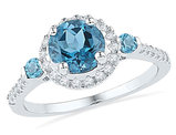 Lab Created Blue Topaz Ring 1.75 Carat (ctw) with Diamonds 1/5 Carat (ctw J-K, I2-I3) in 10K White Gold